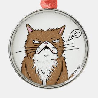 Meh Funny Grumpy Cat Drawing Metal Ornament