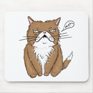 Meh Funny Grumpy Cat Drawing Mouse Pad