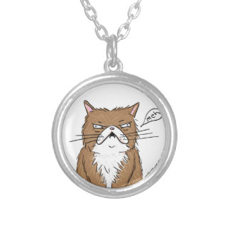 Meh Funny Grumpy Cat Drawing Silver Plated Necklace