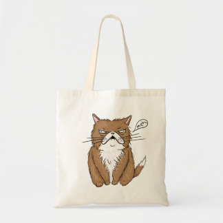 Meh Funny Grumpy Cat Drawing Tote Bag