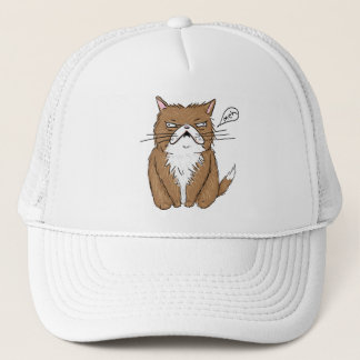 Meh Funny Grumpy Cat Drawing Trucker Hat