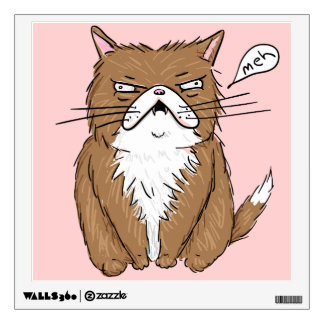 Meh Funny Grumpy Cat Drawing Wall Decal