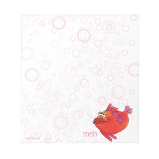 Meh Whimsical Fish Art in Red and Pink Notepad