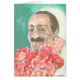Meher Baba with flowers Card