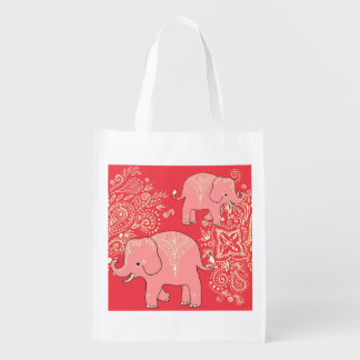 Mehndi Elephants reusable shopping bag tote Reusable Grocery Bags