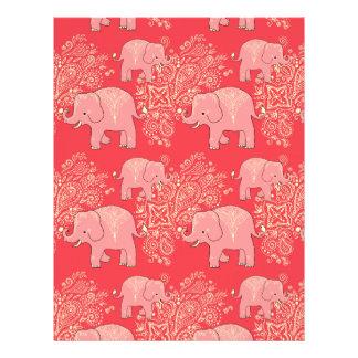 mehndi elephants scrapbook paper 8.5 x 11 letterhead design