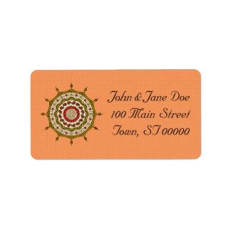 Mehndi Fantasy Gold Address Label