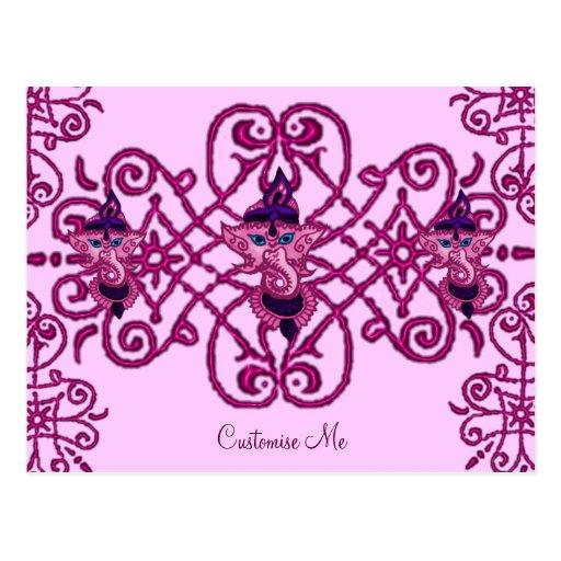 Mehndi Ganesha (Pink) Post Card