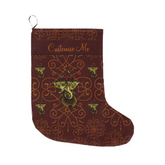 Mehndi Ganesha (Red) Large Christmas Stocking