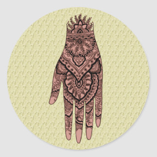 Mehndi Hand Tattoo Art Design Sticker