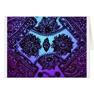 Mehndi Henna Blue Mix Greeting Card