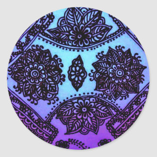 Mehndi Henna Blue Mix Classic Round Sticker