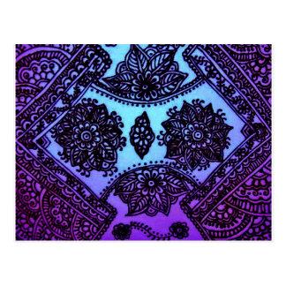 Mehndi Henna Blue Mix Postcards