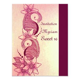 "mehndi henna pink 4.25"" x 5.5"" invitation card"