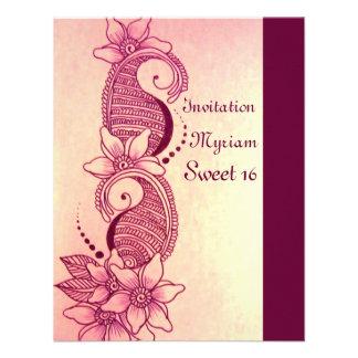 mehndi henna pink custom announcement