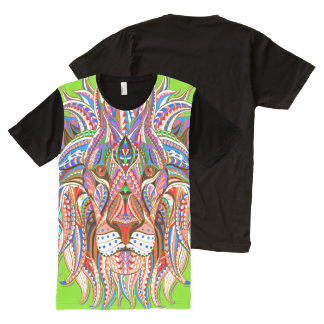 mehndi henna rasta lion colorful psychedelic All-Over-Print T-Shirt