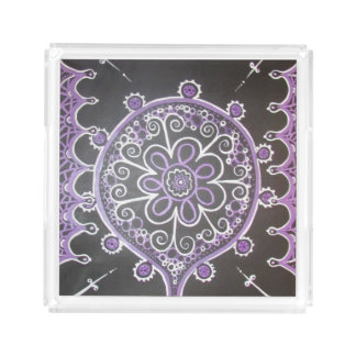 Mehndi Inspired Design (Purple and White) Serving Tray
