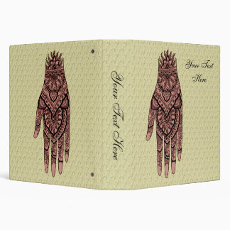 Mehndi Pink Hand Tattoo Art Design 3 Ring Binder