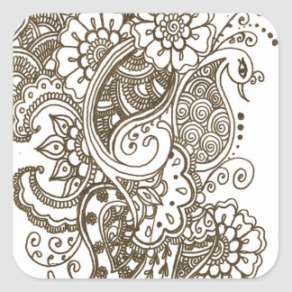 Mehndi Square Sticker