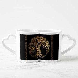 Mehndi Tree of Life (Gold) (Henna) Coffee Mug Set