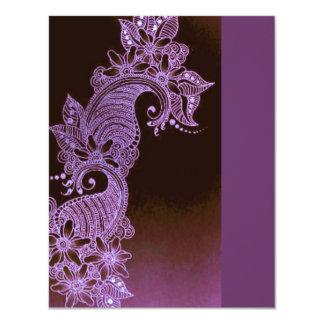 mehndi violet 3 floraux de henné carton d'invitation 10,79 cm x 13,97 cm