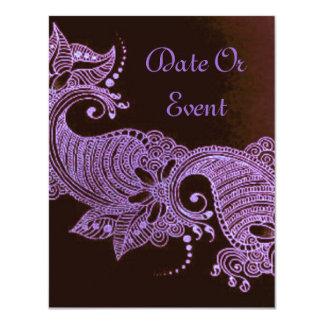 mehndi violet de henné floral carton d'invitation 10,79 cm x 13,97 cm