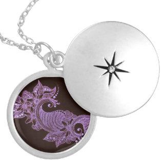mehndi violet de henné floral médaillon rond