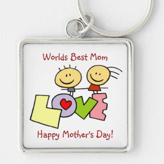Meilleure maman de inspiration des mondes - le porte-clé carré argenté
