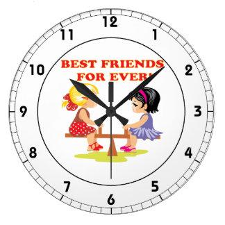 Meilleurs amis pour jamais grande horloge ronde