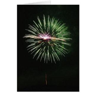 Meilleurs voeux en vert de feu d artifice - carte de vœux