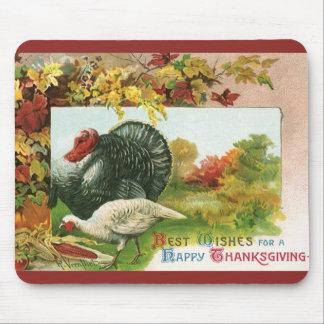 Meilleurs voeux pendant un bon thanksgiving dinde tapis de souris