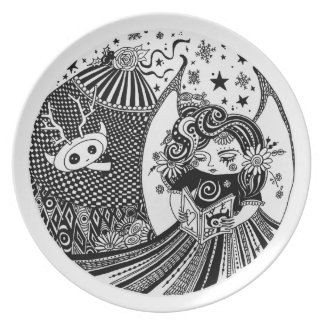 Melamine Art Plate Contented Creature Angel Fairy