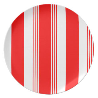 Melamine Candy Striper Plate in Red