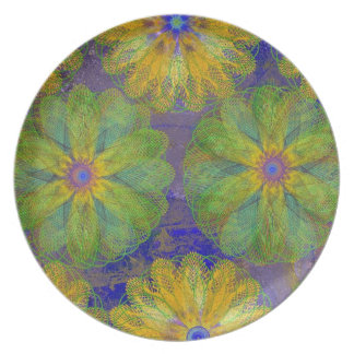 Melamine Dinnerware -Floral Abstracts and Spirals Dinner Plate