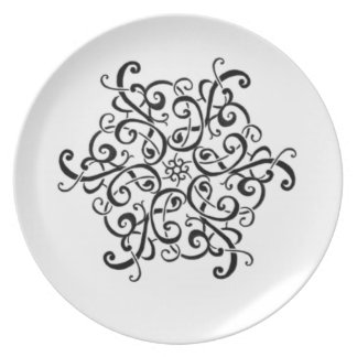 Melamine Plate-Black and White Design Party Plates