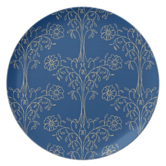 Melamine Plate, Dark Blue, Gold-effect Pattern Plate