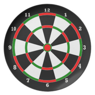 Melamine Plate - Dartboard Clock - With Numbers