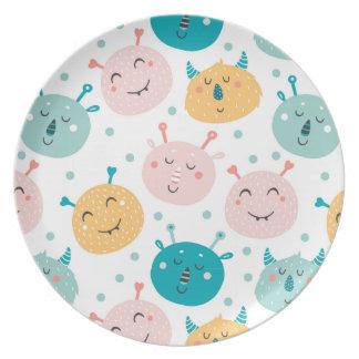 Melamine Plate for kids Cute Monsters design