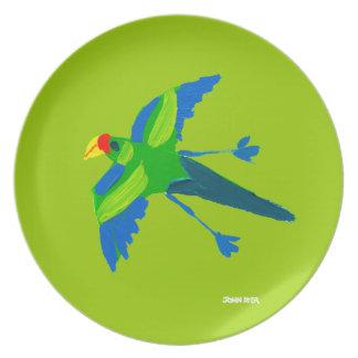 Melamine Plate: John Dyer Parrot Green Dinner Plate