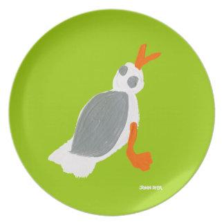 Melamine Plate: John Dyer Seagull Green