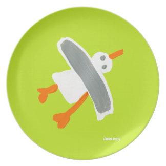 Melamine Plate: John Dyer Seagull Green Party Plate