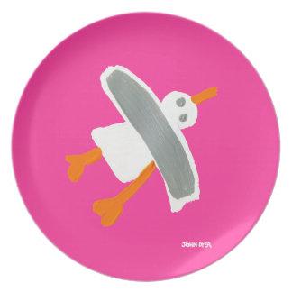 Melamine Plate: John Dyer Seagull Pink