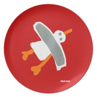 Melamine Plate: John Dyer Seagull Red Dinner Plates