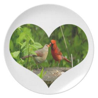 Melamine Plate, Kissing Cardinals. Dinner Plate