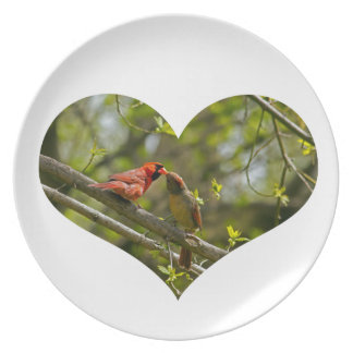 Melamine Plate, Kissing Cardinals. Party Plates