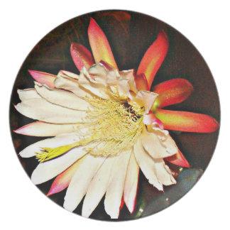 """Melamine Plate """"White Cactus Flower in Black """""""