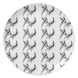 Melamine Plate with black & white abstract design