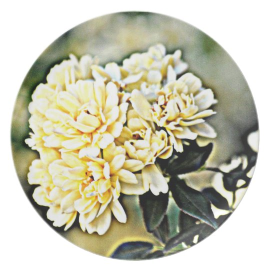 """Melamine Plate """"Yellow Flower Clusters"""""""