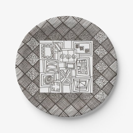 Melange-Abstract Geometric Doodle Pattern 7 Inch Paper Plate