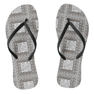 Melange-Abstract Geometric Doodle Pattern Flip Flops
